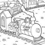Railroad, Le Grand Cirque Train On Railroad Coloring Page: Le Grand Cirque Train on Railroad Coloring Page