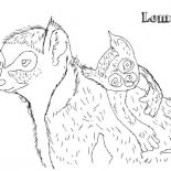 Lemur, Lemur And Baby Lemur Coloring Page: Lemur and Baby Lemur Coloring Page