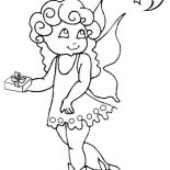 Angels, Little Angels Bring A Present For The Moon Coloring Page: Little Angels Bring a Present for the Moon Coloring Page