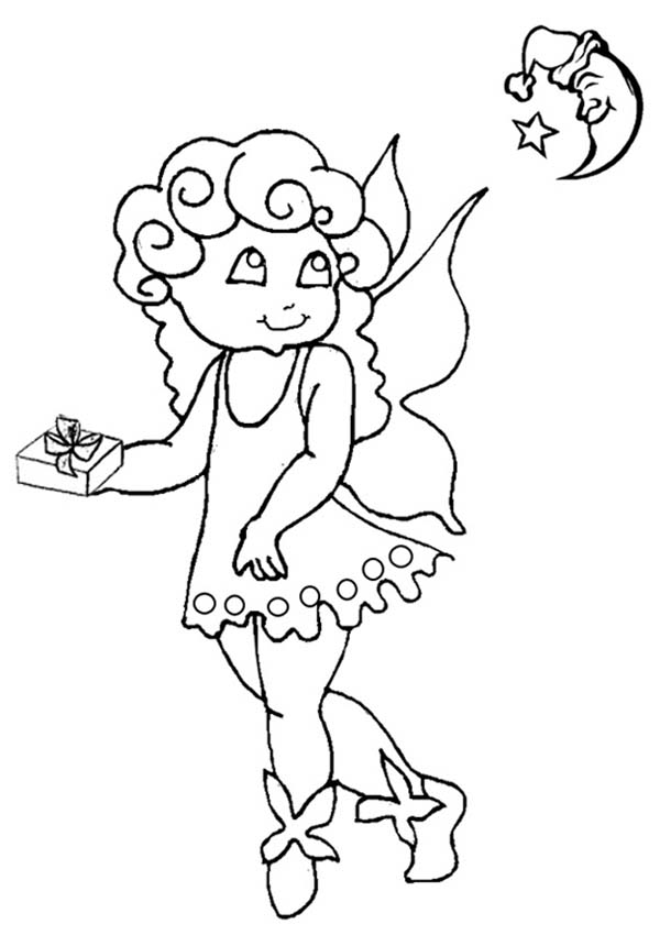 Angels, : Little Angels Bring a Present for the Moon Coloring Page