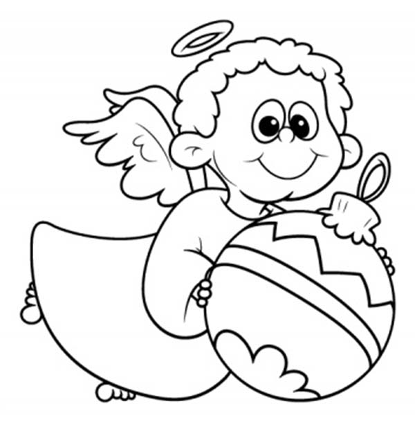 Angels, : Little Angels with Christmas Tree Ball Coloring Page