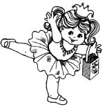 Ballerina, Little Ballerina Of Halloween Coloring Page: Little Ballerina of Halloween Coloring Page