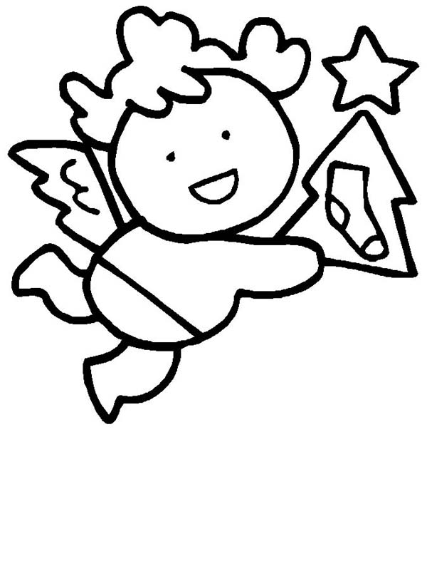 Angels, : Little Wing Christmas Angels Coloring Page