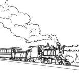 Railroad, Long Steam Train On Railroad Coloring Page: Long Steam Train on Railroad Coloring Page