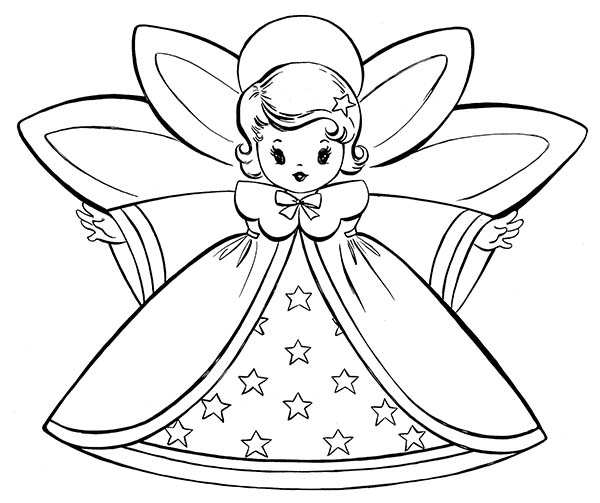 Angels, : Lovely Angels and Starred Dress Coloring Page