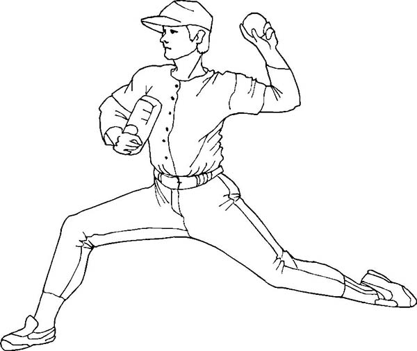 MLB, : MLB Pitcher Pose Coloring Page