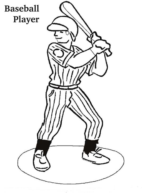 MLB, : MLB Player Ready in the Batter Box in MLB Coloring Page