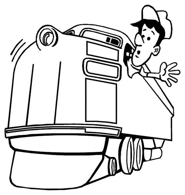 Trains, : Machinist and Locomotive Train Coloring Page