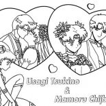 Sailor Moon, Mamoru Chiba And Tsukino Usagi In Sailor Moon Coloring Page: Mamoru Chiba and Tsukino Usagi in Sailor Moon Coloring Page