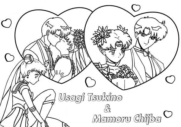 Sailor Moon, : Mamoru Chiba and Tsukino Usagi in Sailor Moon Coloring Page