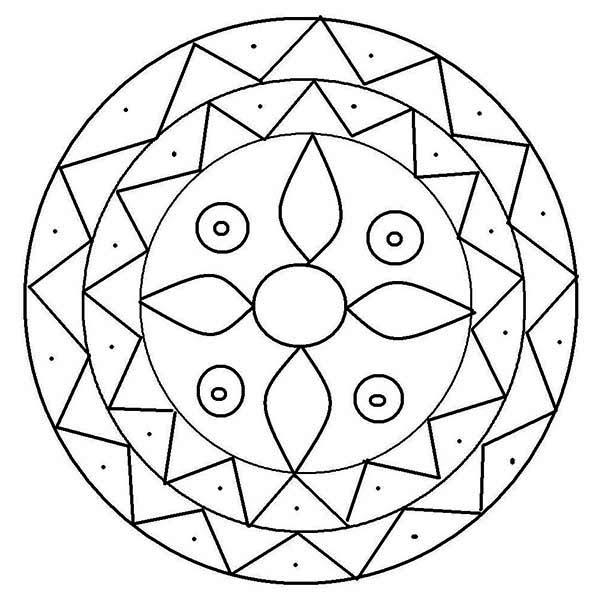 Rangoli, : Mandala Design Rangoli Coloring Page