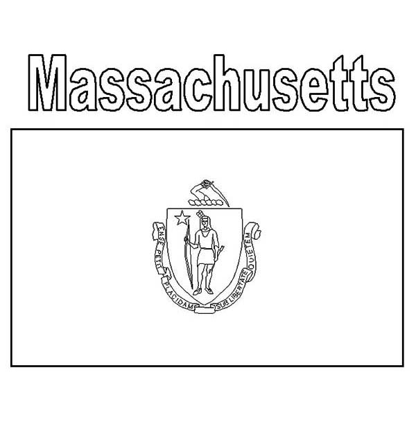 State Flag, : Massachusetts State Flag Coloring Page
