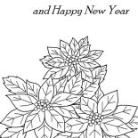 Poinsettia, Merry Christmas And Happy New Year With Poinsettia Coloring Page: Merry Christmas and Happy New Year with Poinsettia Coloring Page