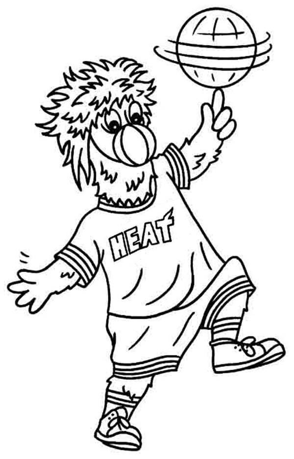 NBA, : Miami Heat Mascot in NBA Coloring Page