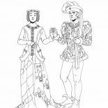 Middle Ages, Middle Ages Dance Between Prince And Princess Coloring Page: Middle Ages Dance Between Prince and Princess Coloring Page