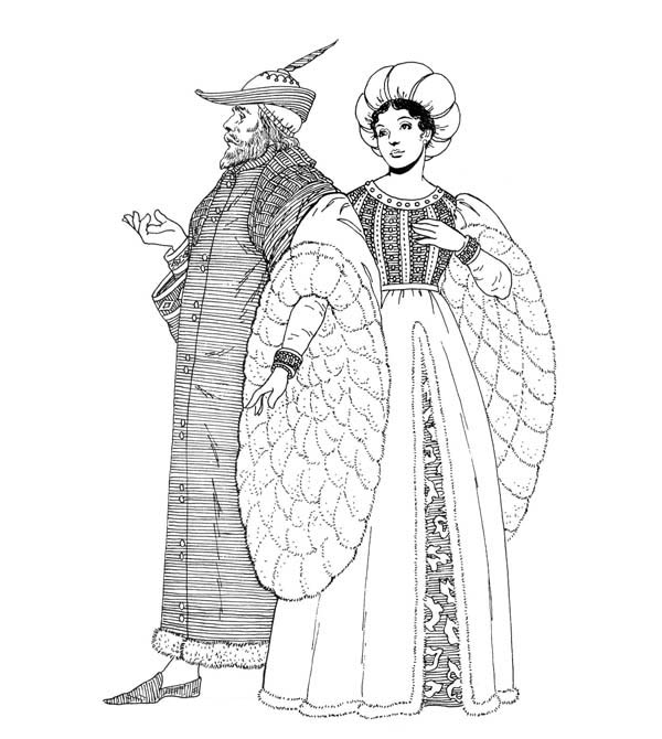 Middle Ages, : Middle Ages Fashion Style Coloring Page