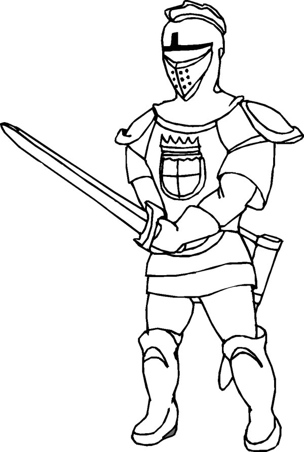 Middle Ages, : Middle Ages Knight Coloring Page