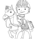 Mike the Knight, Mike The Kight Riding Galahad The Horse Coloring Page: Mike the Kight Riding Galahad the Horse Coloring Page