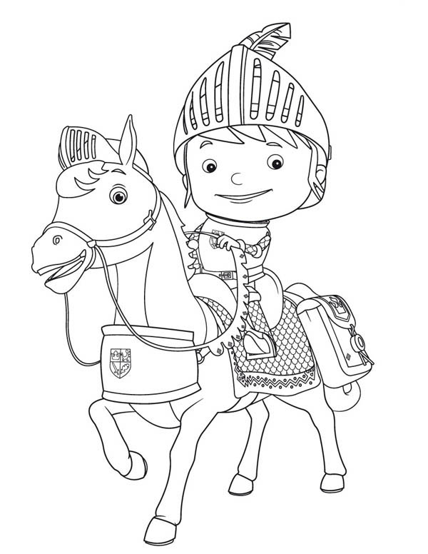 Mike the Knight, : Mike the Kight Riding Galahad the Horse Coloring Page