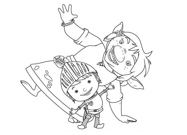 Mike the Knight, : Mike the Knight Dancing Coloring Page