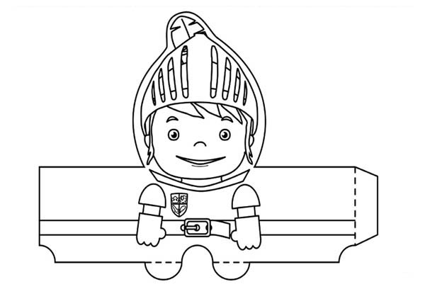 Mike the Knight, : Mike the Knight Papercraft Coloring Page
