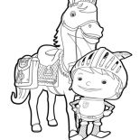 Mike the Knight, Mike The Knight Standing In Front Of Galahad Coloring Page: Mike the Knight Standing in Front of Galahad Coloring Page