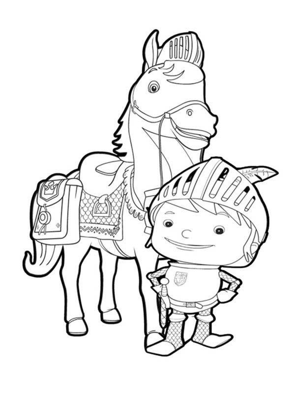 Mike the Knight, : Mike the Knight Standing in Front of Galahad Coloring Page