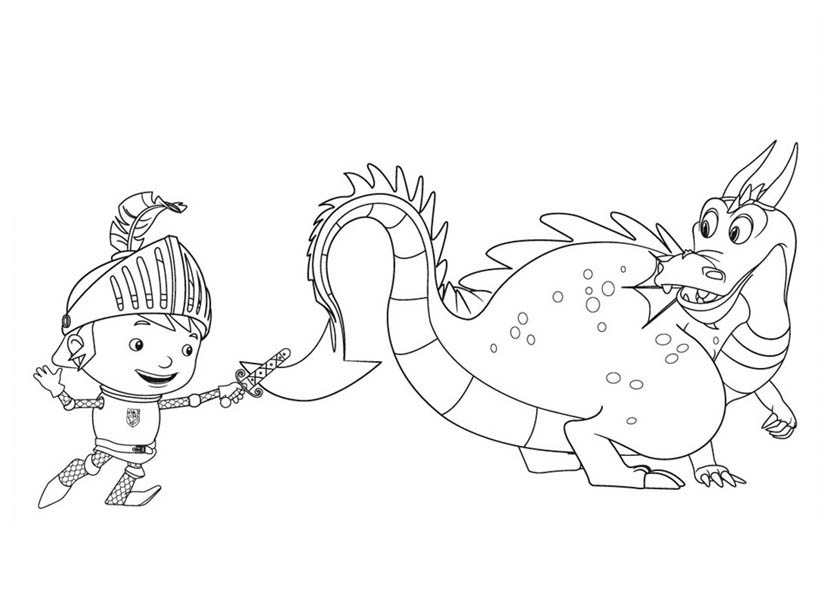 Mike the Knight, : Mike the Knight Training with Sparkie Coloring Page