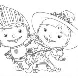 Mike the Knight, Mike The Knight And Her Sister Evie Coloring Page: Mike the Knight and Her Sister Evie Coloring Page