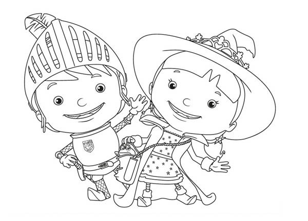Mike The Knight And Her Sister Evie Coloring Page Color Luna