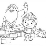 Mike the Knight, Mike The Knight And Santa Claus Coloring Page: Mike the Knight and Santa Claus Coloring Page
