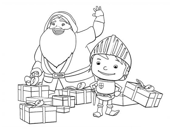 Mike the Knight, : Mike the Knight and Santa Claus Coloring Page