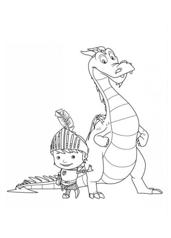Mike the Knight, : Mike the Knight and Sparkie Take a Picture Coloring Page
