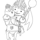 Mike the Knight, Mike The Knight On His Horse Galahad Coloring Page: Mike the Knight on His Horse Galahad Coloring Page