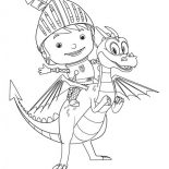 Mike the Knight, Mike The Knight On Ride Squirt Coloring Page: Mike the Knight on Ride Squirt Coloring Page