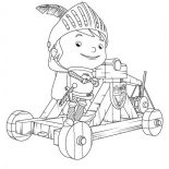Mike the Knight, Mike The Knight On A Mangonel Coloring Page: Mike the Knight on a Mangonel Coloring Page