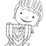 Mike the Knight, Mike The Knight With Shield Coloring Page: Mike the Knight with Shield Coloring Page