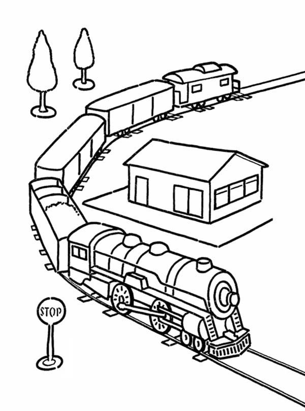 Trains, : Model Train Coloring Page
