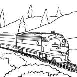 Railroad, Model Train On Railroad Coloring Page: Model Train on Railroad Coloring Page