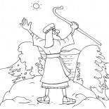 Moses, Moses About To Divide Red Sea Coloring Page: Moses About to Divide Red Sea Coloring Page
