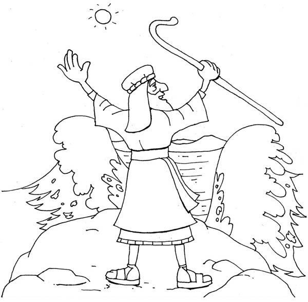 Moses, : Moses About to Divide Red Sea Coloring Page