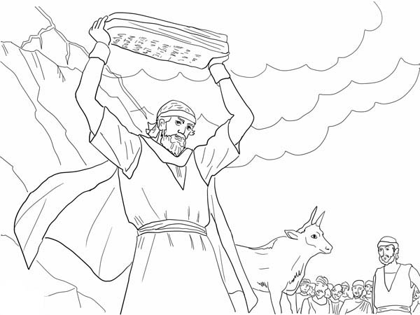 Moses, : Moses Breaking the Tablets of Law Coloring Page