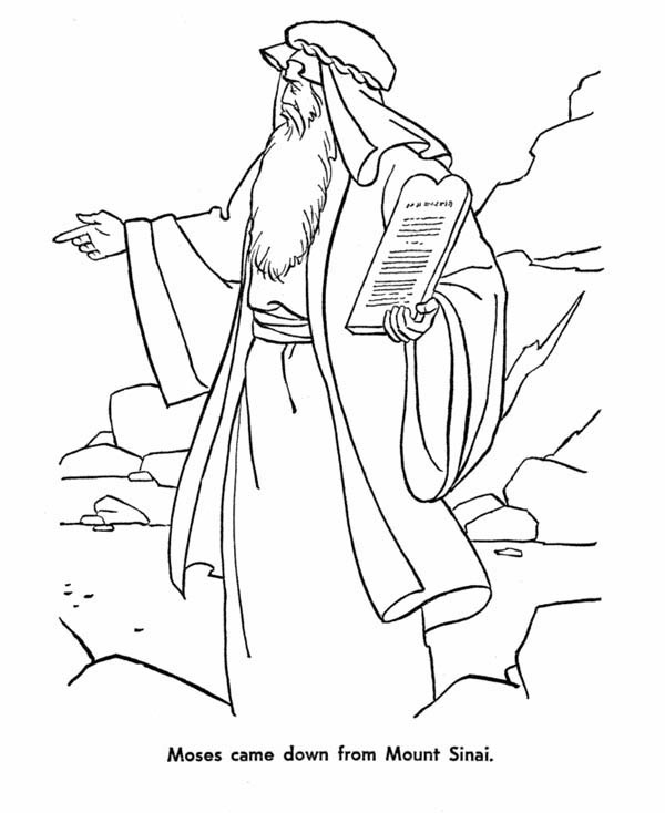 Moses, : Moses Came Down from Mount Sinai with the Law Coloring Page