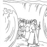Moses, Moses Divide Red Sea Coloring Page: Moses Divide Red Sea Coloring Page