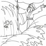 Moses, Moses Divide The Red Sea With His Stick Coloring Page: Moses Divide the Red Sea with His Stick Coloring Page