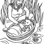 Moses, Moses Found Safely In River Of Nile Coloring Page: Moses Found Safely in River of Nile Coloring Page