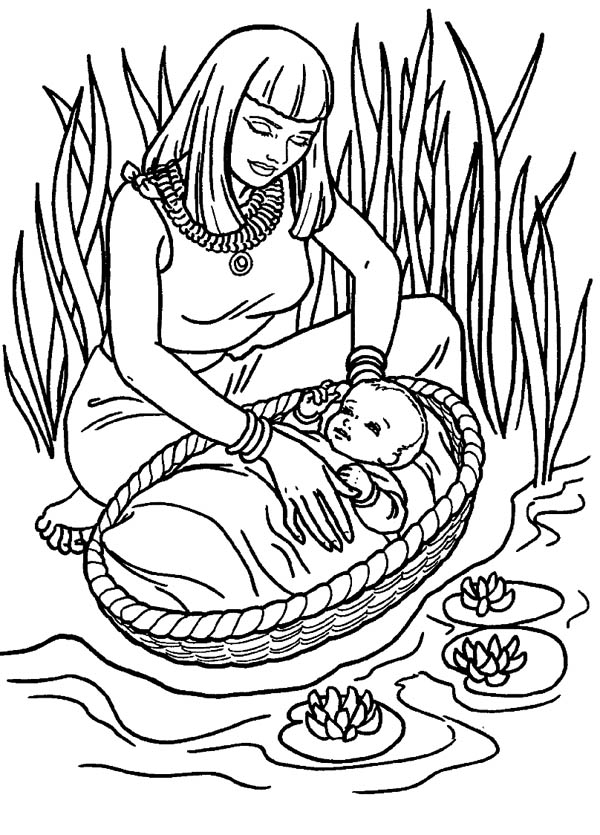 Moses, : Moses Found Safely in River of Nile Coloring Page