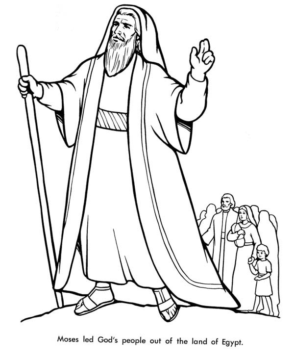 Moses, : Moses Led Gods People Out of the Land of Egypt Coloring Page