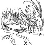 Moses, Moses Mother Put Moses Into A Basket In Nile River Coloring Page: Moses Mother Put Moses into a Basket in Nile River Coloring Page