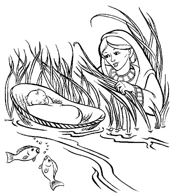 Moses, : Moses Mother Put Moses into a Basket in Nile River Coloring Page